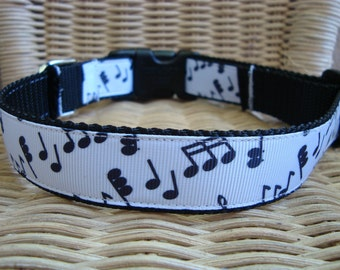 Musical Notes Large Dog Collar