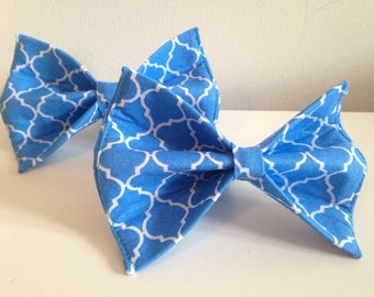 Blue Quatrefoil Trellis Design Dog Bow Tie in Small, Medium or Large