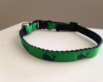 Green with Dark Blue Whales Cat Collar