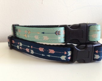 Mint Green or Navy Blue Arrows 5/8 inch Dog Collar