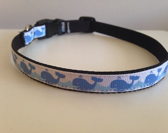 1/2 Inch Blue Whales Small Dog Collar