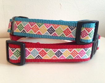 Colorful Medallions Print 1 inch Large Dog Collar on Blue or Red Nylon