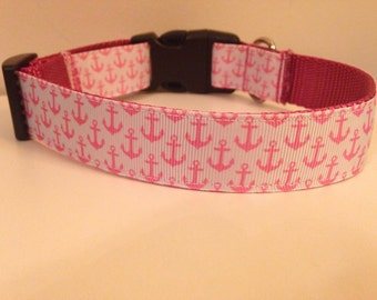 Pink Anchors on Pink Nylon 1 inch Large Dog Collar