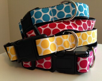 1 inch Large Polka Dot Dog Collar Blue, Pink, Red or Yellow