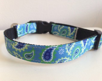 Blue, Green, White Paisley 5/8 inch Dog Collar