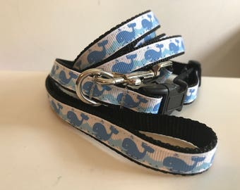 Small 1/2 Inch Blue Whale Leash and Collar Set