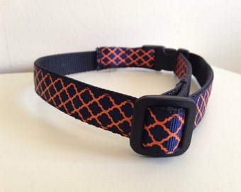 5/8 inch Navy Blue and Orange Quatrefoil Auburn Tigers Medium Dog Collar