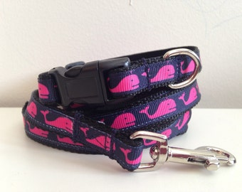 Small 1/2 Inch Pink Whale Leash and Collar Set