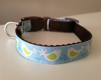 5/8 inch Blue Birds Medium Dog Collar