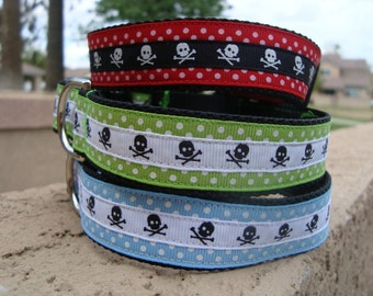 Skulls and Polka Dot Large Dog Collar NEW COLORS