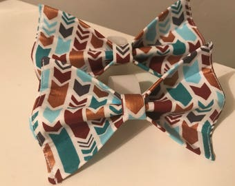 Blue and Gold Herringbone Dog Bow Tie in Small, Medium or Large