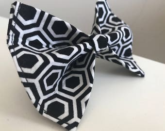 Black and White Hexagon Dog Bow Tie in Small, Medium or Large