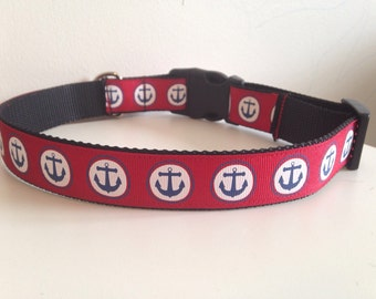 1 inch Red with Blue Anchors Large Dog Collar