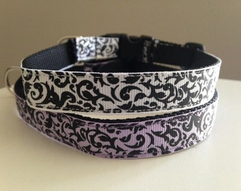 Black and White Damask or Lavender and Black Damask Medium Dog Collar