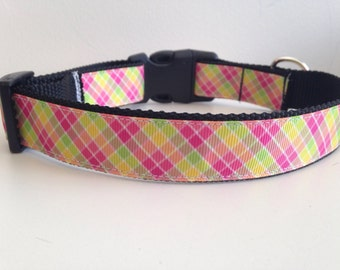 Pink, Yellow, Green Lemonade Plaid 1 inch Large Dog Collar