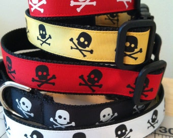 Skull Dog Collar Large Red Black White Gold Boy Colors