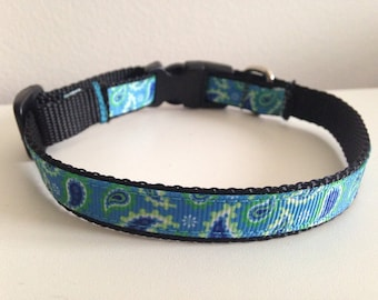 Blue and Green Paisley Small 1/2 inch Dog Collar