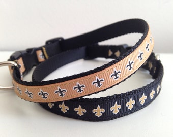 Small 1/2 inch Black with Gold Fleur De Lis or Gold With Black Fleur De Lis Saints Dog Collar
