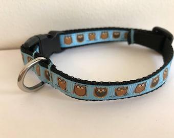 1/2 Inch Blue Owls Small Dog Collar