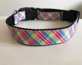 Pink, Yellow, Blue Spring Plaid 1 inch Large Dog Collar