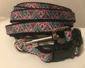 Small 1/2 inch Bohemain Medallion Leash and Collar Set