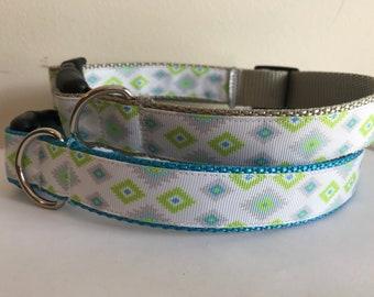 Green, Aqua and Gray Aztec 1 inch Large Dog Collar on Gray or Aqua Nylon