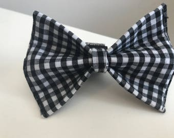 Black and White Gingham Plaid Dog Bow Tie in Small, Medium or Large