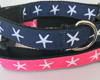 Blue or Pink Starfish Beach Nautical Large 1 inch Dog Collar