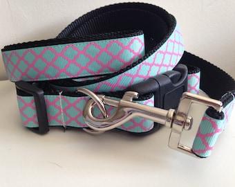1 inch Turquoise and Pink Quatrefoil Trellis Design Leash and Collar Set