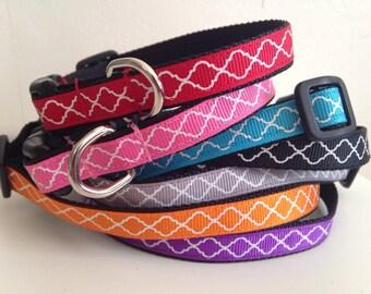 Small 1/2 inch Trellis Quatrefoil Dog Collar in Orange, Purple, Gray, Turquoise, Pink, Black or Red