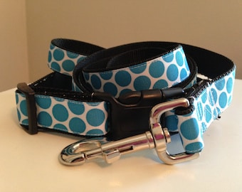Blue, Yellow, Red or Pink Large 1 inch Polka Dots Dog Leash and Collar Set