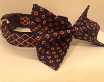 Blue with Orange Paw Prints Auburn Dog Bow Tie in Small, Medium or Large
