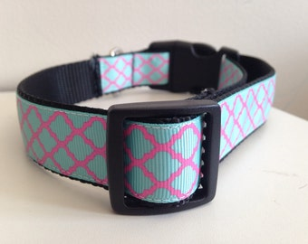 Turquoise and Pink Quatrefoil Trellis Design Large 1 inch Dog Collar