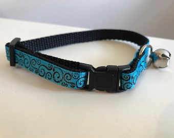 Turquoise with Black Swirls Cat Collar