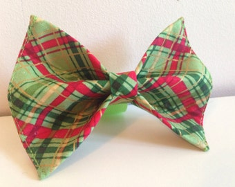 Red with Green Plaid Holiday Christmas Dog Bow Tie in Small, Medium or Large