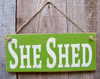 Signs, She Shed, Wood Signs, Handpainted, Porch Decor, Cottage Garden, Custom Sign, Personalized Signs, Rustic, Gifts For Her, Made To Order