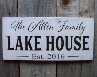 Wood Signs, Rustic, Personalized Anniversary Gifts, Wedding Signs, Established Signs, Handpainted Signs, Lake House, Housewarming Gift