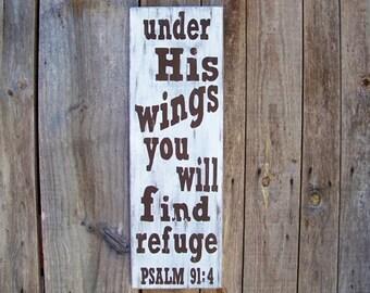 Rustic Scripture Signs, Psalm 91:4, Scripture Art, Inspirational Sayings, Rustic, Handpainted, Wood Sign, Home Decor, Farm, Cabin