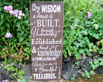 Scripture Signs, Rustic Signs, Scripture Art, Proverbs 24:3-4, Handpainted, Wood Sign, Inspirational Sayings, Typography, Housewarming Gift