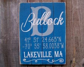 Signs, Custom, Coordinates, Latitude, Longitude, Personalized, Porch Decor, Beach, Nautical, Handpainted, Housewarming Gifts