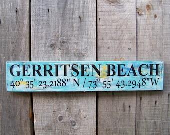 GPS, Coordinates, Latitude & Longitude, Custom, Sign, Personalized, Wood Sign, Rustic, Coastal Chic, Handpainted