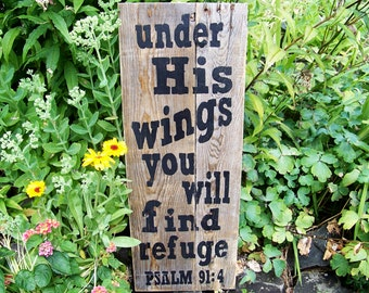 Handpainted Signs, Rustic Signs, Psalm 91:4, Scripture Art, Inspirational Sayings,  Home Decor, Farmhouse Decor, Cabin, Typography