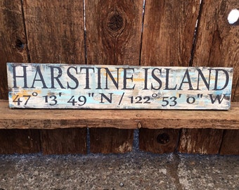 Coastal Living, Custom Coordinates, Latitude & Longitude Signs, Signs, Lake, Cabin, GPS, Wood Signs, Handpainted, Personalized Signs