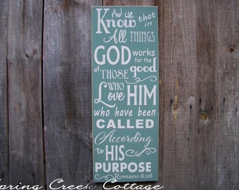 Religious Signs, Word Art, Wall Art, Scripture Art, Romans 8:28, Rustic Handpainted Signs, Wood Sign, Inspirational Sayings, Typography