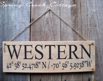 Handpainted Wood Signs, Custom, Coordinates, Latitude, Longitude, Farmhouse Decor, Wood Signs, Handpainted, Personalized Signs