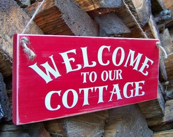 Signs, Welcome To Our Cottage, Wood Signs, Cottage, Handpainted, Typography, Farm, Rustic Signs