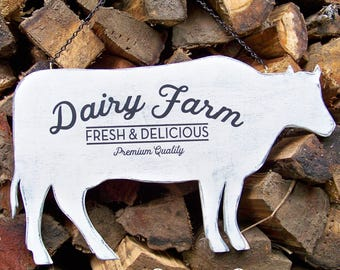Rustic Farm Animal Sign, Unique Wood Sign, Dairy Farm, Handcrafted, Rustic, Cow Silhouette Sign, Farm Decor, Farmhouse Kitchen, Kitchen, Cow