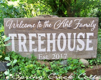 Modern Rustic Signs, Personalized Anniversary Gifts, Wedding Signs, Established Signs, Name Signs, Handpainted, Lake House, Treehouse Signs