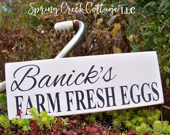 Fresh Eggs, Personalized Chicken Coop Signs, Custom Signs, Wood Signs, Farm Fresh, Fresh Eggs, Farmhouse Decor, Handpainted, Rustic Signs