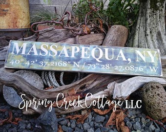 Coastal Living, Custom Coordinates, Latitude & Longitude Signs, Modern Rustic, Signs, Lake, GPS, Wood Signs, Handpainted, Personalized Signs